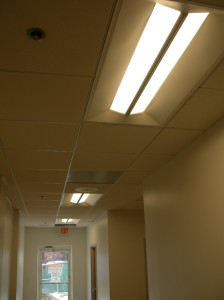 LED light fixtures installed