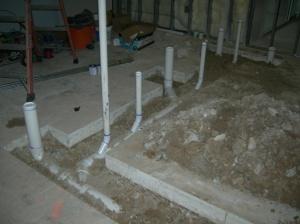 Underslab plumbing rough-in is complete