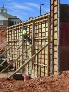 Retaining wall formwork underway