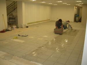 Ceramic tile paver installatin in Customer Lounge area