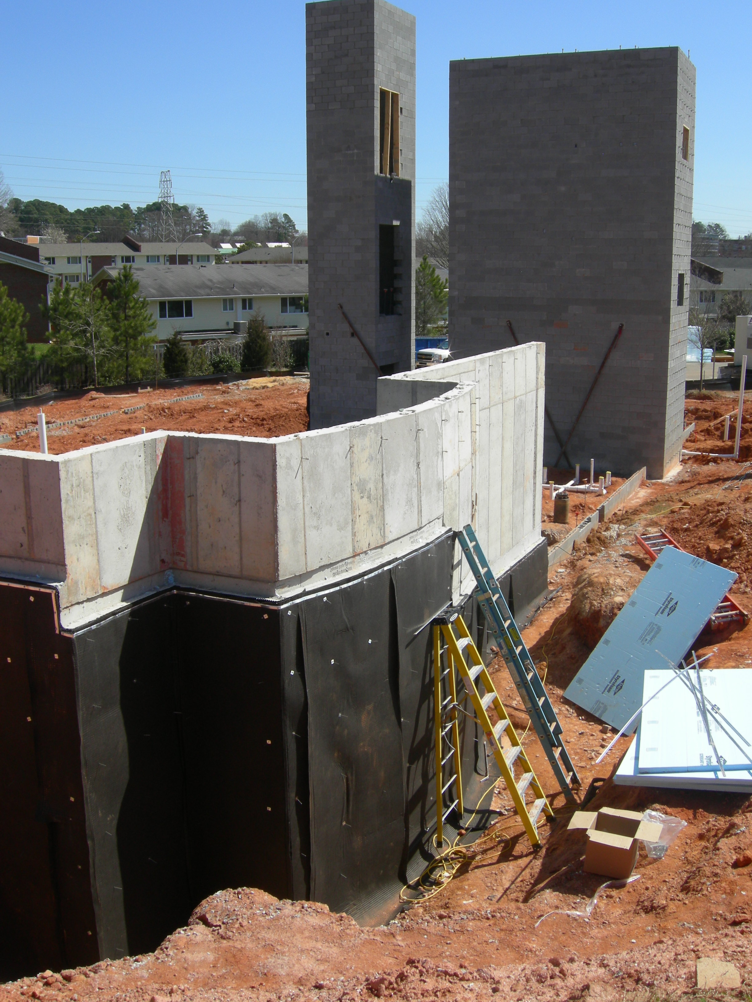 waterproofing and drainage mat installed elevator and stair shafts in