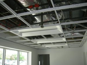 Ceiling grid and light fixtures installed.