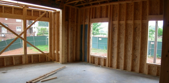 Wood framing is complete in Officer's bedroom.