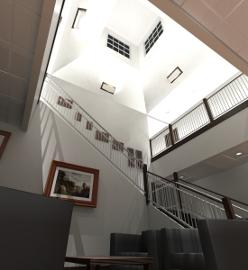 Rendering of finished entry lobby.