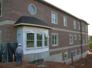 Right side elevation masonry complete except bay window