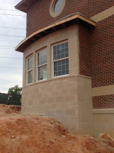 Masonry at bay window complete.