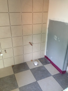 Ceramic tile installed in 2nd floor bathroom