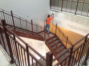 Stair and guardrail installation in main Lobby