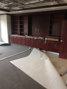 Carpet and cabinetry installed in Alumni Library