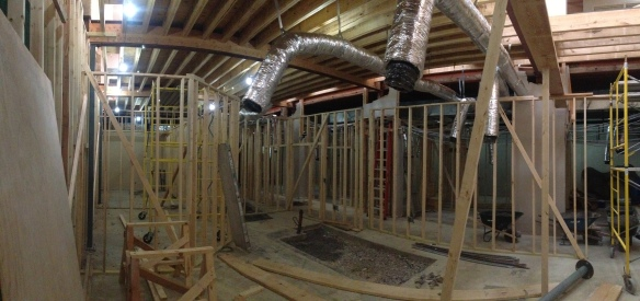 1st floor wall framing under 2nd floor infill area