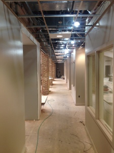 2nd floor corridor with permanent lighting installed.