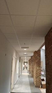 Ceiling grid and tile installed in 2nd floor corridor
