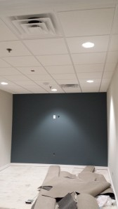 Ceiling grid and tile with accent paint in conference room